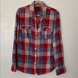 Lucky Brand red white blue plaid shirt L   (B)